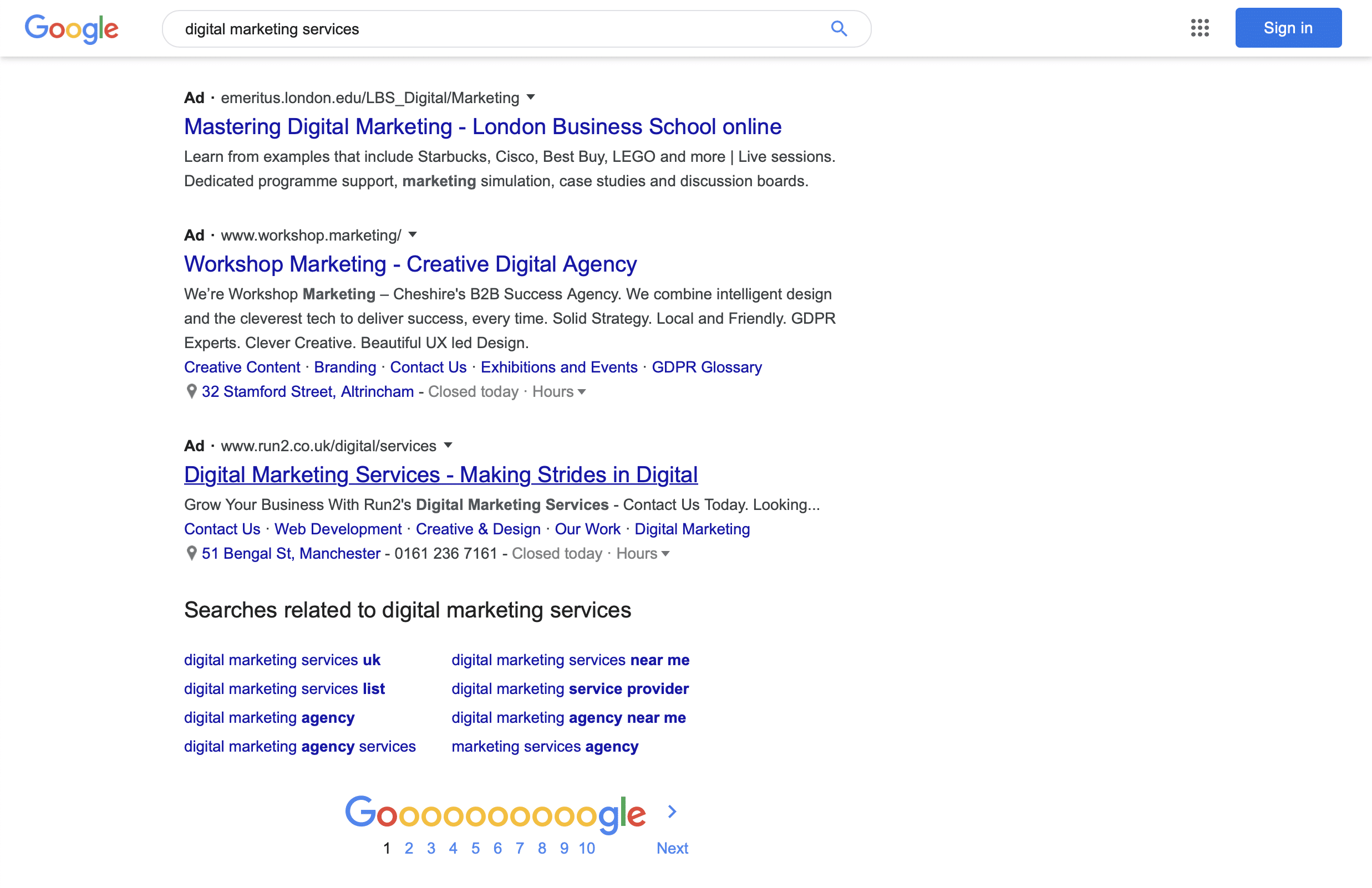 SERP for Digital Marketing Services
