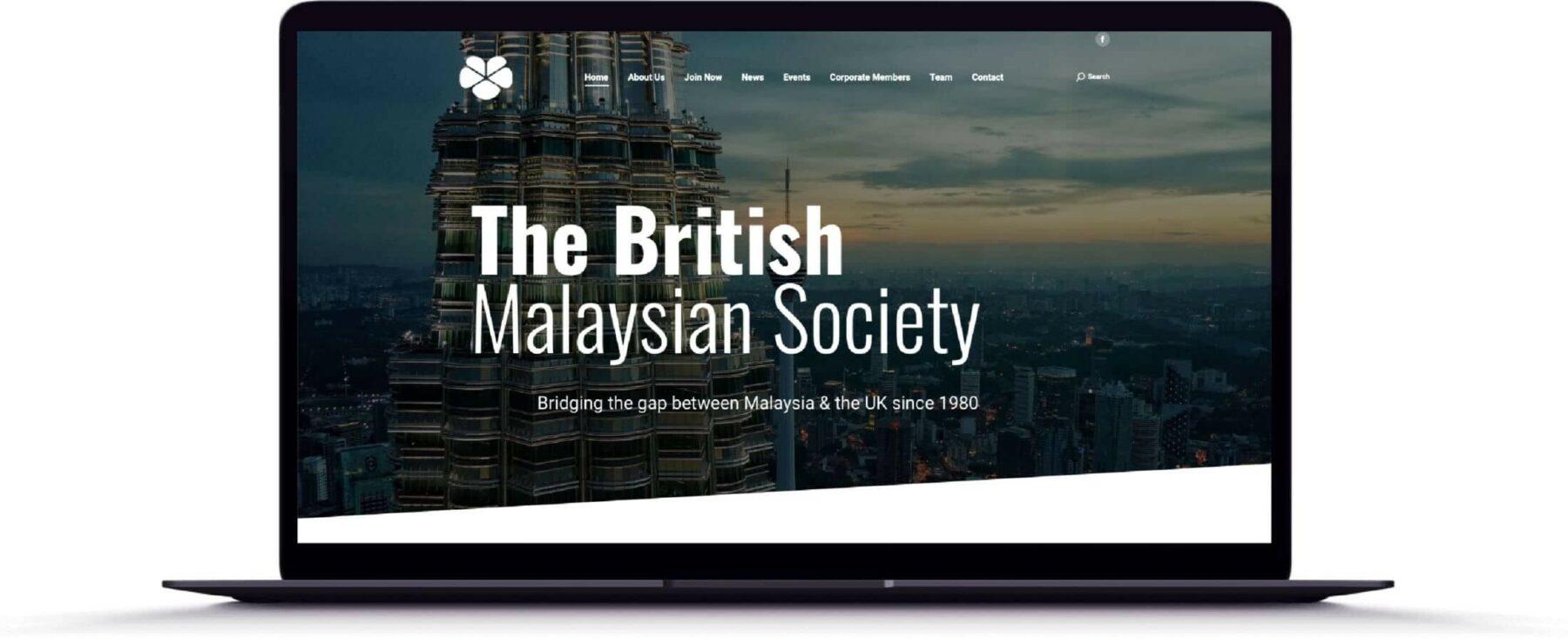 Web Design for The British Malaysian Society, Kuala Lumpur, Malaysia
