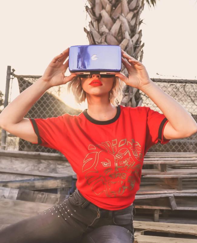 Women Wearing VR Headset ON Wood - Virtual Reality in Marketing