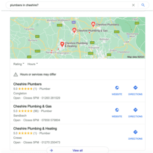 SERP Example - Plumbers in Cheshire