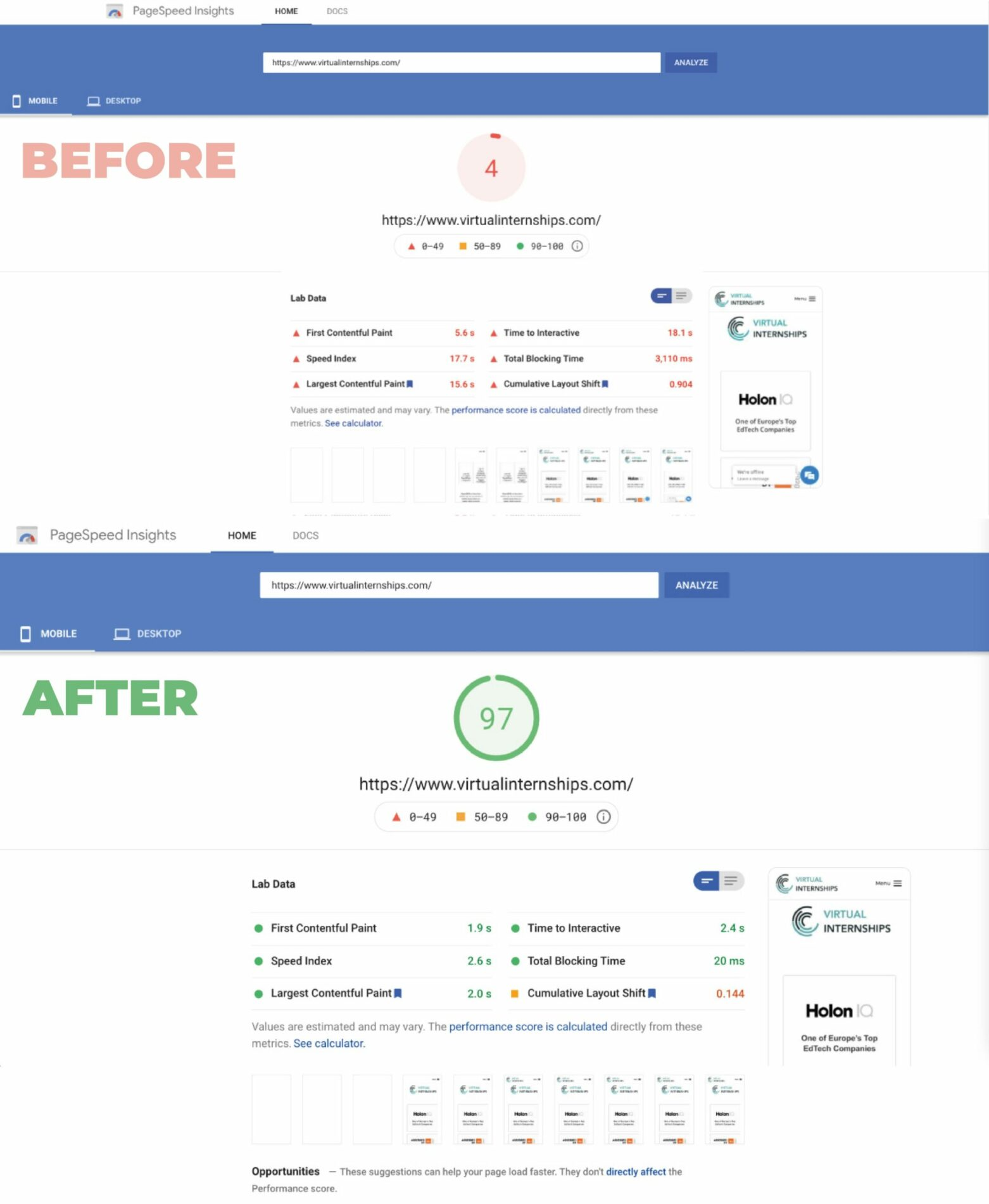Before and After Virtual Internships PageSpeed Optimisation