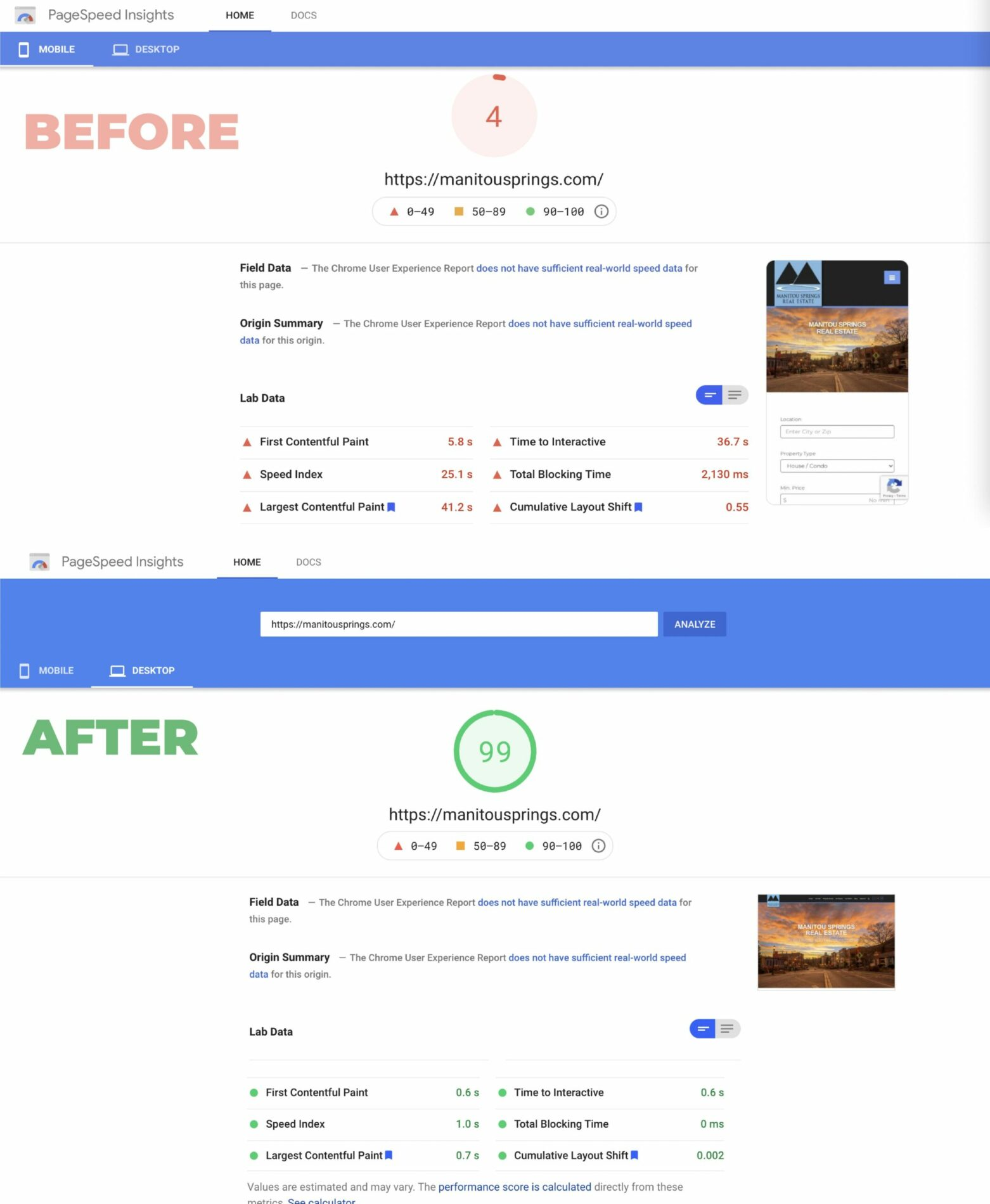 Before and After Manitou Springs PageSpeed Optimisation