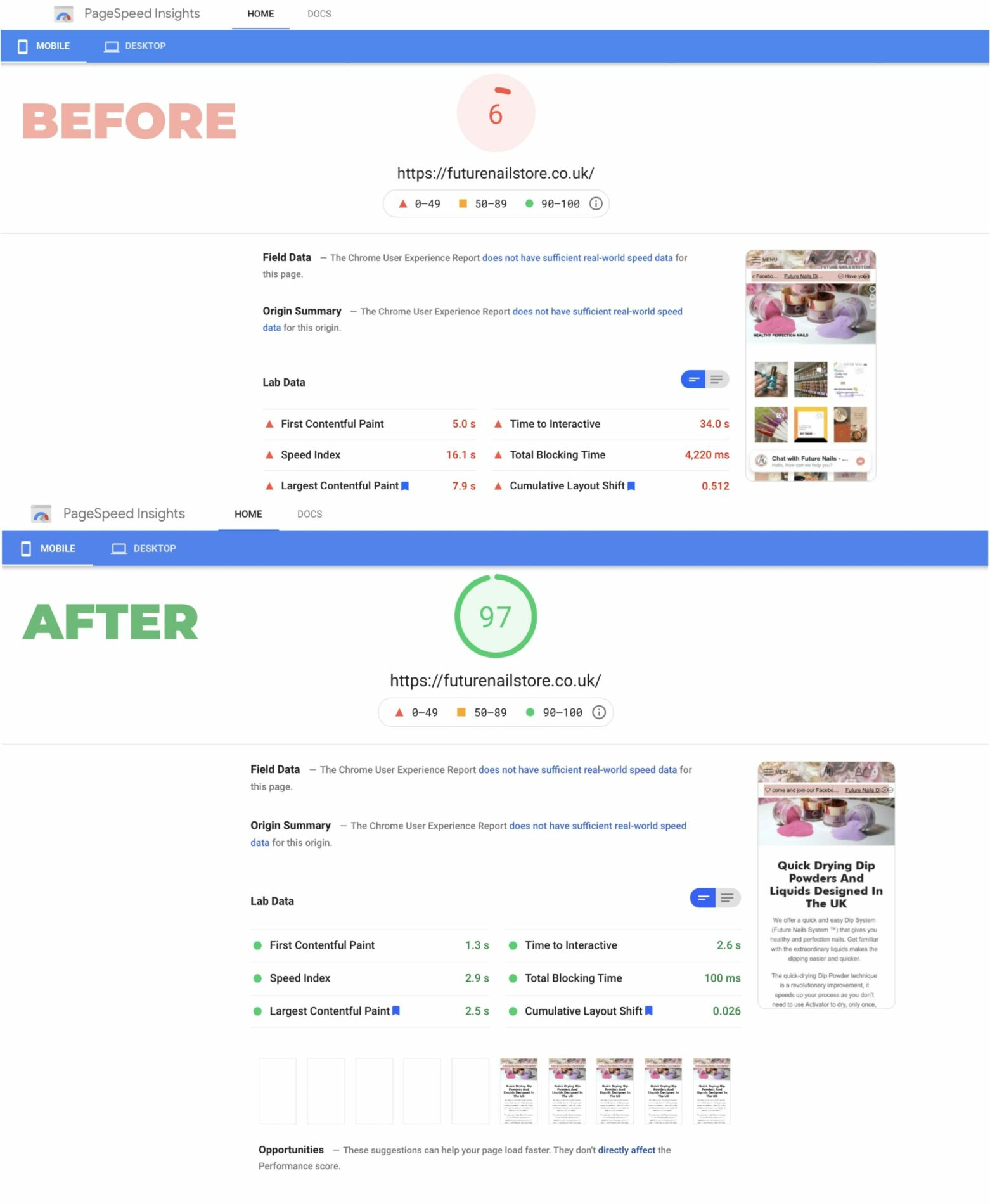Before and After Future Nails Store PageSpeed Optimisation